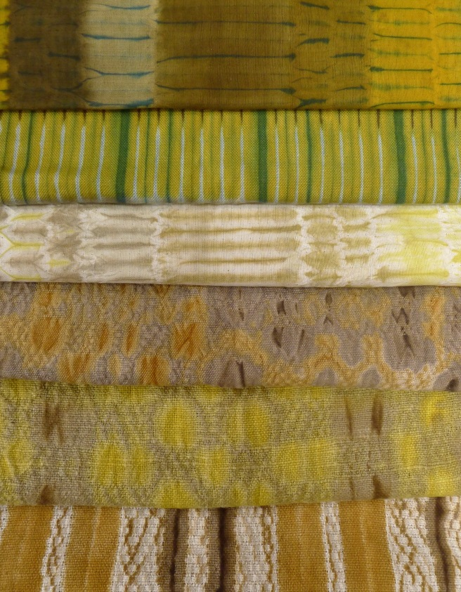 fabrics dyed with various yellow plant dyes