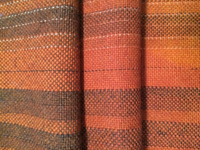 Alpaca, various colors in warp and weft, dyed with madder (rubia cordifolia)