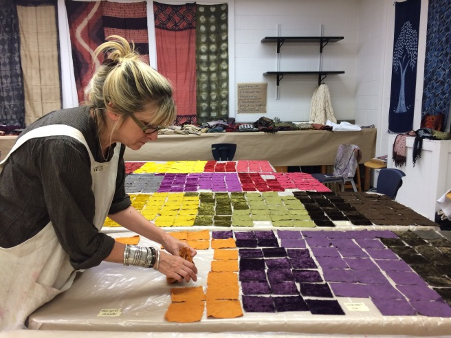 Charlotte Kwon, laying out samples to dry