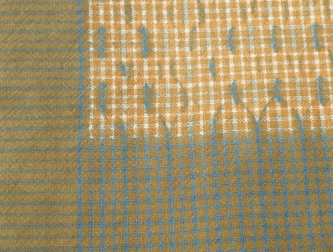 Wool and cotton cloth, dyed with indigo and lichen