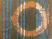 Cross dyeing effects, woven of wool and cotton, dyed with indigo and lichen