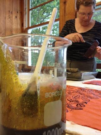 Joy Boutrup,mixing indigo print paste at Penland School of Crafts