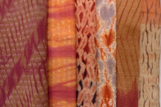 Red samples: mordant printing, dyed with madder, lac, and quebracho