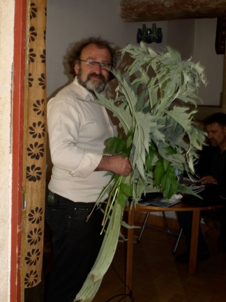 Michel Garcia, coming from the dye garden in Lauris, France