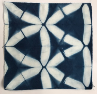 Cotton, itajimi shibori sample, single immersion, (24 hours)