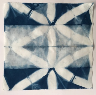 Cotton, itajimi shibori sample, multiple immersions (20 minutes each)