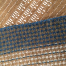 Top: black walnut dye only on wool and cotton. Bottom: indigo and black walnut on wool and cotton , with resists