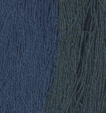 Yarn is made by plying linen and cashmere. Left: Indigo dye only, Right, indigo overdid with safflower petals.